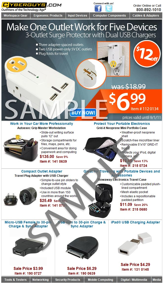 Here is a sample of the promotional emails you will receive with your Buyers Club membership. Save money every day on computer accessories and smart devices accessories!