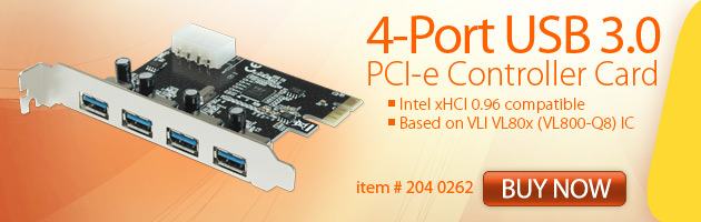 204 0262, 4 Port USB 3.0 PCI-e Controller Card