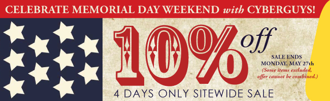 Memorial Day Sale 10 Percent off sitewide