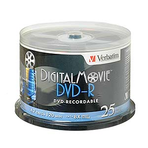 154 0623 - VERBATIM DIGITAL MOVIE DVD-R, 25PK SPINDLE - is no longer available at Cyberguys.com