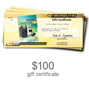 223 0569 - $100.00 Cyberguys Gift Certificate - is no longer available at Cyberguys.com